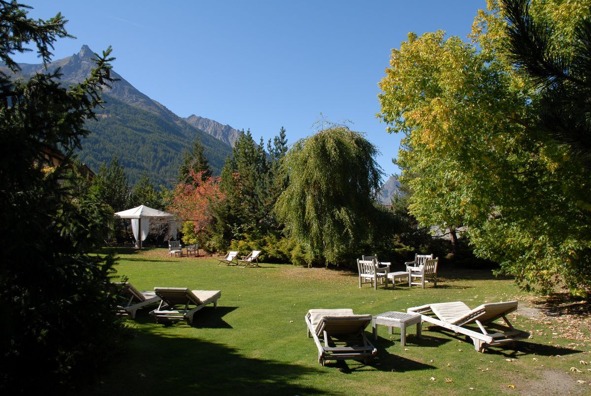 Garden of Miramonti hotel in Cogne