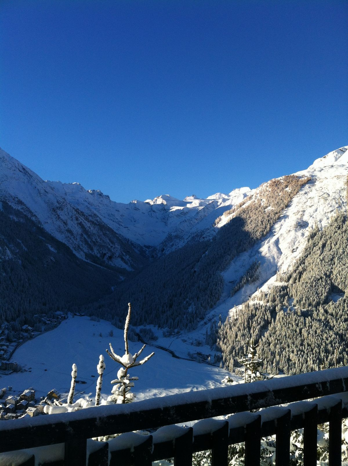 View from Belvedere hotel in Cogne in winter