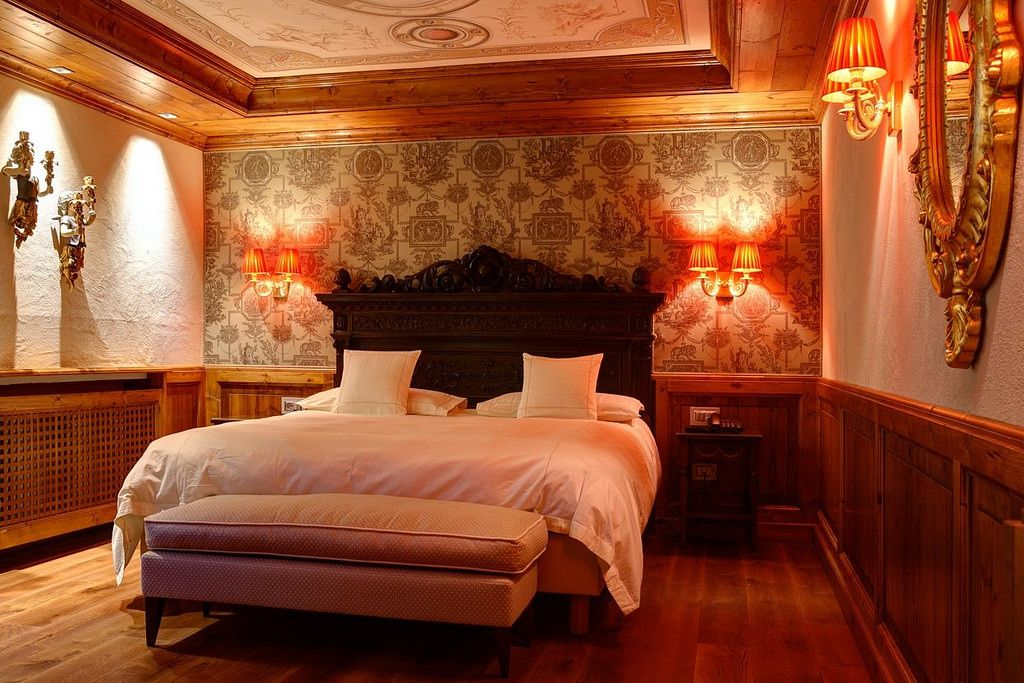 Romantic room of Miramonti hotel in Cogne