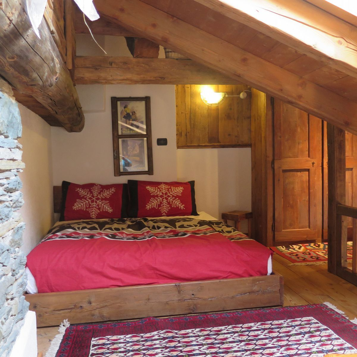 Attic bedroom of the apartment La Piazzetta in Cogne